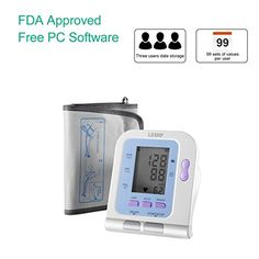 LESHP Accurate Blood Pressure Monitor Upper Arm Blood Pressure Machine FDA Approved BP Cuff with Digital LCD Screen Adjustable Medium Size Cuff Sync with PC * Read more at the image link. (This is an affiliate link) #CyclingElectronics