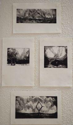 """""""Sans titre"""" de Claire Vallès Gravure sur rhénalon sur papier  D'après le court métrage L'intervalle de résonance"""