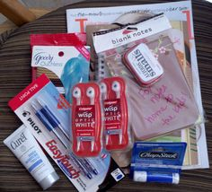 Hospital survival kit I made for my friend who may be in the hospital for a week (could also work for new mother, etc.) - magazine, journal, note cards, notebook, pens, chapstick, pony holders, disposable toothbrushes, altoids, hand lotion.  So many other things you could add.