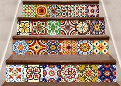 Home decor tile DIY Set of 24 vintage mural bathroom Decals