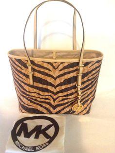 New Michael Kors Handbag Brown Tiger Logo Animal Print Travel Tote Small Zebra  #MichaelKors #TotesShoppers