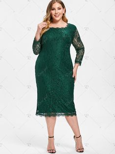c3e9b35829 Back Zip Plus Size Lace Knee Length Dress Use Code RGBF1 Get 25% OFF  Discount!  great . Sammy Fashion · Rosegal