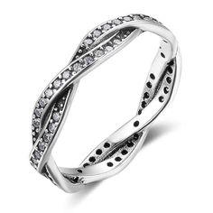 Retro Sterling Silver Cubic Zirconia Rings Winding Shape Finger Rings For Women Deco Engagement Ring, Antique Engagement Rings, Wedding Engagement, Amber Jewelry, Silver Jewelry, Bling Bling, Braided Ring, Cubic Zirconia Rings, Ladies Party