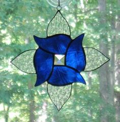 Stained Glass Suncatcher,Swirl Flower in Cobalt...