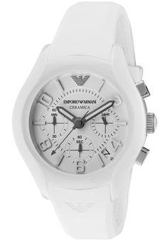 Emporio Armani Women's Ceramica Chronograph White Dial White Silicone discovered on Fantasy Shopper Emporio Armani, Armani Men, Cool Watches, Watches For Men, White Watches, Armani Watches, Shopping Hacks, Designer Earrings, Fashion Watches