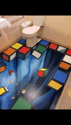 3D toilet floor art