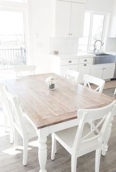 White Dining Room Table And Chairs white dining table dining room table, liming HHGPWNO - Home Decor Ideas Cottage Dining Rooms, Ikea Dining Room, Dining Tables, Living Room, White Dining Room Table, Kitchen Table Chairs, Whitewash Dining Table, White Dining Set, White Dining Room Chairs
