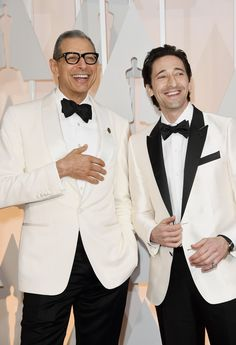 Goldblum's bone-colored dinner jacket shines (and bests Brody's) because of its matching shawl lapel and welt pockets. Hate to harp on this one, but some visible shirt cuff would have bumped this guy up a spot or two.    - Esquire.com LOVE JEFF GOLDBLUM!