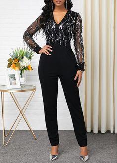 V Neck Long Sleeve Sequin Panel Jumpsuit Embellished Jumpsuit, Jumpsuit Outfit, Jumpsuits For Women, Fashion Dresses, Trendy Dresses, Fashion Clothes, Sequins, Skinny, Long Sleeve