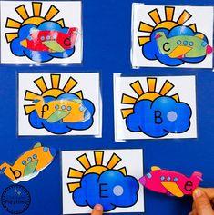 Upper & Lowercase Alphabet Letter Matching. Transportation Preschool Activities, Transportation Worksheet, Toddler Learning Activities, Preschool Lesson Plans, Preschool Math, Preschool Worksheets, Alphabet Worksheets, Cardboard Crafts Kids, Puzzle Crafts