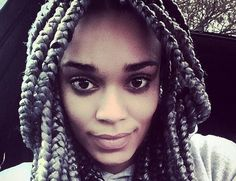 Is anyone else obsessed with Pearl Thusi's grey box braids? If I were to get this, I'd either get maroon, or grey and nude pink. Love it!
