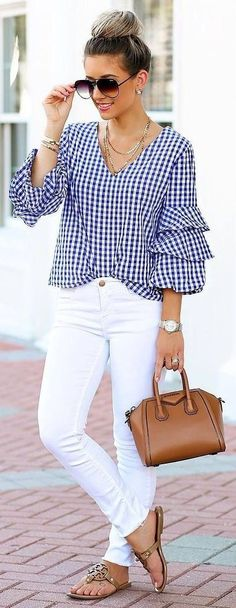 Blue gingham layered sleeve waist grazing blouse with white high waist denim, taupe suede chunky heel sandals ( and a small brown vegan leather tote. Wearing your hair up in loose pinned curls with small barrel spirals in your bangs and side layers. Mode Outfits, Casual Outfits, Fashion Outfits, Womens Fashion, Casual Wear, Summer Office Outfits, Spring Outfits, Summer Outfit, Dress Summer
