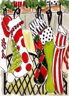 Christmas Stockings... original painting by Fifi Flowers