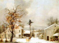 Jones Inn Winter 1855 painting George Henry Durrie | Oil Painting Reproduction
