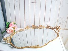 Gold Filigree Vanity Mirror Tray with Cherubs, Vintage Gold Tray, Shabby Chic Oval Mirror Tray, French Cottage Decor French Cottage Decor, Shabby Chic Cottage, Shabby Chic Oval Mirror, Mirror Tray, Cherubs, Vintage Vanity, Gold Filigree, Theme Ideas, Accent Pieces