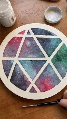 Art Drawings Sketches Simple, Colorful Drawings, Diy Canvas Art, Small Canvas Art, Art Diy, Watercolor Art, Watercolor Galaxy, Galaxy Painting, Cool Paintings