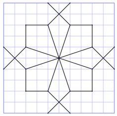 reproSurQuadrillage5 Graph Paper Drawings, Graph Paper Art, Barn Quilt Designs, Barn Quilt Patterns, Geometric Pattern Design, Geometry Pattern, Islamic Art Pattern, Pattern Art, Blackwork