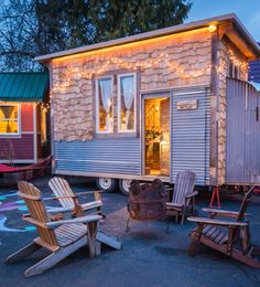 Skyline has an eclectic look with a shed roof, metal-and-wood siding and other re-purposed materials.