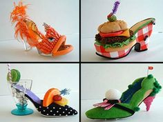 funky shoes shaped like fish, burgers, tropical drink and golf course - funky heels and shoes