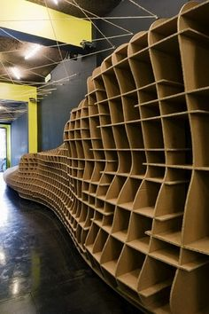 Cool way to use the carboard packaging - shelving!