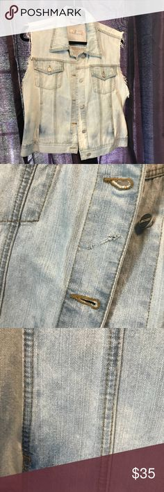 Cute Jean Vest Cute Custom made jean vest! Worn once! In perfect condition. Wear with lots of layers or wear alone with skinny jeans or a skirt! Can be worn many different ways! Jackets & Coats Vests