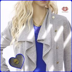 "listing LONG SLEEVE DRAPED CARDIGAN Light knit cardigan in medium grey color. Signature Calvin Klein front gold buttons and draped designs. High quality knit with 70% acrylic and 30% wool. Warm but not too hot. Excellent condition. Washed ones. Size M (no tag so please check my measurements) Length: 26"". Armpit to armpit: 17"" (stretchy) Calvin Klein Sweaters Cardigans"
