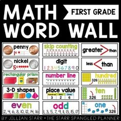 Included are 77 visual math vocabulary cards for your word wall. With visual representations and student friendly definitions, these cards help students remember key vocabulary. Math Word Walls are the perfect reference tool for any classroom!