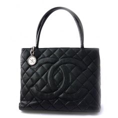 CHANEL    Black Quilted Caviar Leather Silver Medallion Tote Bag
