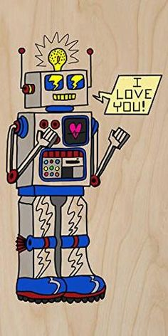 Love Robot' Funny Cute Vintage Robot w/ Feelings - Plywood Wood Print Poster Wall Art Print Poster, Poster Wall, Vintage Robots, Made In America, Filipino, Wood Print, Plywood, Funny Cute, Great Gifts