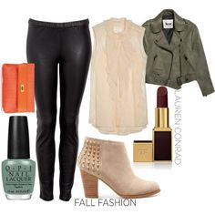 love this entire outfit. leather leggings, blush pink top, army green coat. nail polish, lip color and shoes are amazing too