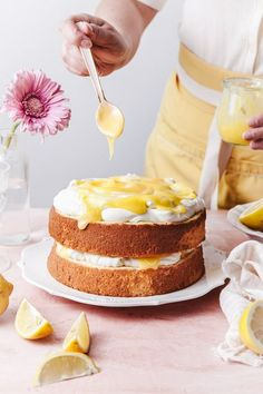 This lemon cake recipe is made with fluffy chiffon cake layers that are topped with tart homemade lemon curd and light mascarpone whipped frosting. #layercake #lemoncake #chiffoncake #lemoncurd Delicious Cake Recipes, Homemade Cake Recipes, Lemon Recipes, Cupcake Recipes, Yummy Cakes, Baking Recipes, Sweet Recipes, Cupcake Cakes, Dessert Recipes