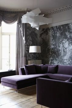 Ultra Violet Sofa And Statement Wallpaper - Image From Remodelista