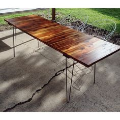 Cool stain w/ hairpin legs Hairpin Legs, Outdoor Tables, Dining Table, Woodworking, Studio, Cool Stuff, Instagram Posts, Casual, Furniture