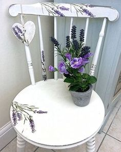 Chalk Painted Chair - The Graphic Fairy - Lavender & Heart Chair - Reader Featured Project