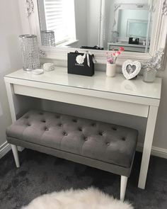 It's really a dressing table – with space for make-up and jewellery inside. But, works just as well as a desk, a place to unload keys or mail in the entrance or to pile magazines behind the couch. Dressing Room Decor, Dressing Table Design, Room Ideas Bedroom, Bedroom Decor, White Dressing Tables, Ikea Malm Dressing Table, Dressing Table Bench, Makeup Room Decor, Glam Room