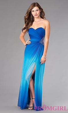 Strapless Sweetheart Floor Length Ombre Dress at PromGirl.com