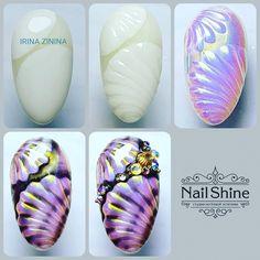 Fall Nail Designs - My Cool Nail Designs Cute Nail Art, Gel Nail Art, Cute Nails, Nail Art Tropical, Seashell Nails, Beach Nail Art, Sea Nails, Halloween Nail Art, Flower Nails