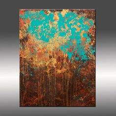 Original Abstract Modern Painting - Title, Awakening - 24x30 Inches - Turquoise, Gold, Brown, Copper. $275.00, via Etsy.