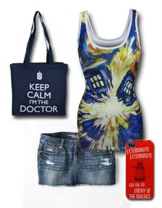 """Dr. Who"" Outfit by Mary Huth Cell Phone Case: http://www.superherostuff.com/dr.-who/cell-phone-covers/doctor-who-daleks-exterminate-iphone-4-case.html?itemcd=celldrwhodlkip4utm_source=pinterestutm_medium=socialutm_campaign=featuredoutfit Tote: http://www.superherostuff.com/dr.-who/bags-and-backpacks/doctor-who-keep-calm-tote-bag.html?itemcd=bagdwclmtoteutm_source=pinterestutm_medium=socialutm_campaign=featuredoutfit Skirt: http://www.ae.com/web/browse/product.jsp?productId=0315_1465_936"