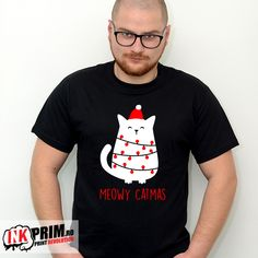Tricou de Craciun Meowy Catmas Mens Tops, T Shirt, Fashion, Supreme T Shirt, Moda, Tee Shirt, Fashion Styles, Fashion Illustrations, Tee