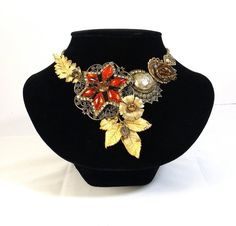 OOAK Upcycled from Vintage Statement Necklace by KatsCache on Etsy