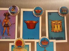 Mexican bingo bottle cap magnets set 4 by normamanley on Etsy, $10.00