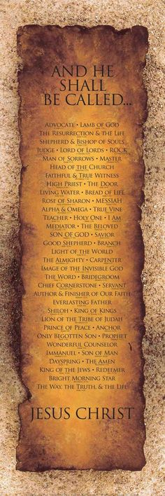 Holy  Beautiful Names that represents Jesus Christ. I will LOVE JESUS CHRIST FOREVER.
