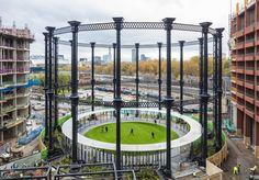 Giant gasholder is reborn as a stunning circular park in London