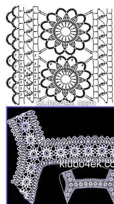 Fabulous Crochet a Little Black Crochet Dress Ideas. Georgeous Crochet a Little Black Crochet Dress Ideas. Col Crochet, Cardigan Au Crochet, Crochet Lace Edging, Crochet Fabric, Crochet Motifs, Crochet Borders, Crochet Diagram, Crochet Chart, Irish Crochet