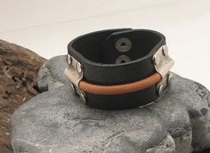 FREE SHIPPING . Men's leather bracelet. Brown and by eliziatelye, $26.00