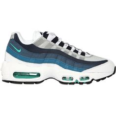 NIKE Air Max 95 Leather & Nylon Sneakers - White/Blue/Grey ($210) ❤ liked on Polyvore featuring shoes, sneakers, grey shoes, nike trainers, white shoes, white leather sneakers and nike
