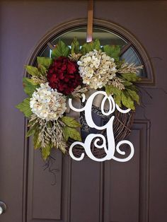 Front Door Spring Wreath - Summer Wreath with Monogram - Everyday Hydrangea Wreath - Year Round Grapevine Wreath with Burlap Bow - Wreaths