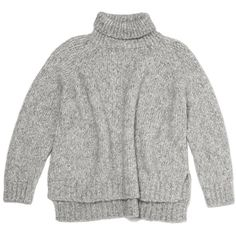 Vanessa Bruno Athe Brochet Alpaca Sweater ($430) ❤ liked on Polyvore featuring tops, sweaters, shirts, jumpers, turtleneck crop top, grey shirt, gray shirt, grey sweater e turtle neck sweater