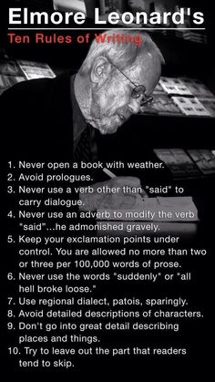 Ten rules of writing (I tend to forget a few of these)